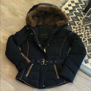 ZARA Puffer Jacket with Faux Fur Hood